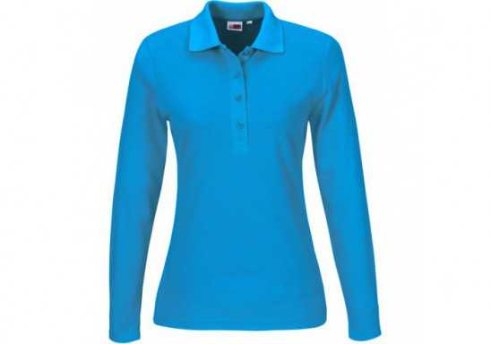 US Basic Ladies Long Sleeve Elemental Golf Shirt - Aqua