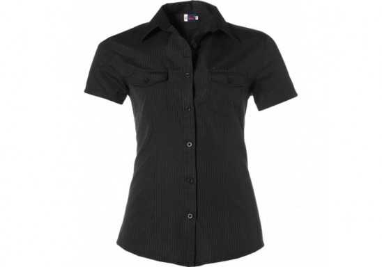 US Basic Bayport Ladies Short Sleeve Shirt - Black