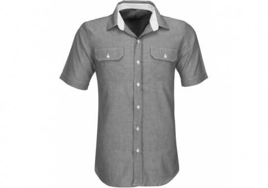 US Basic Mens Short Sleeve Windsor Shirt - Grey