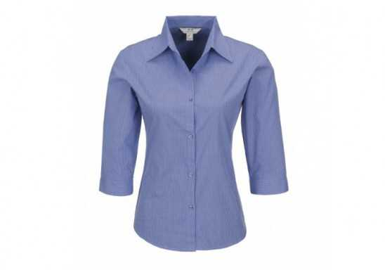 Micro Check Ladies 3/4 Sleeve Shirt - Blue