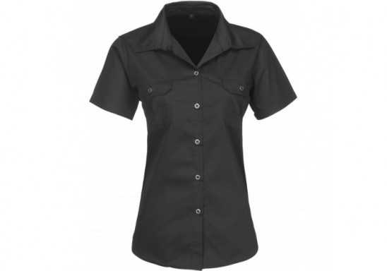 US Basic Ladies Short Sleeve Wildstone Shirt - Black