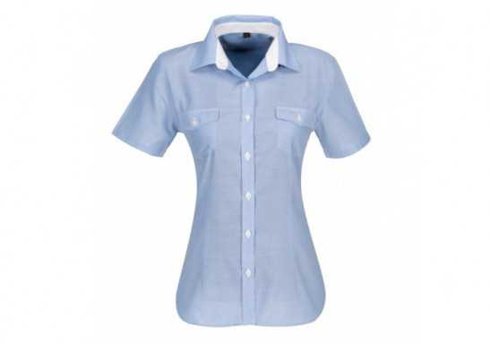 US Basic Ladies Short Sleeve Windsor Shirt - Grey