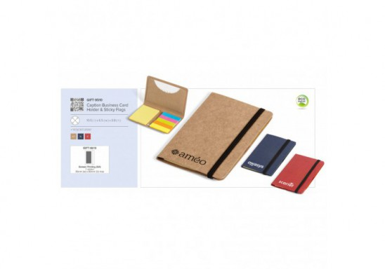 Caption Business Card Holder & Sticky Flags