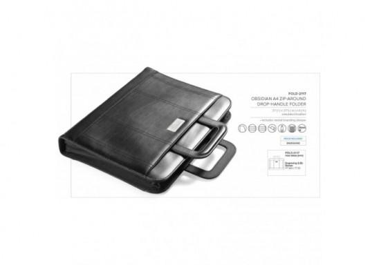 Obsidian Zip-Around Drop-Handle Folder
