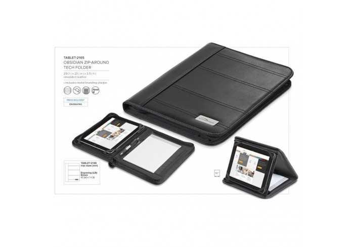 Obsidian Zip-Around Folder & Tablet Stand