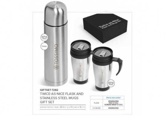 Twice-As-Nice Flask And Stainless Steel Mugs Set