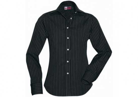 US Basic Pittsburgh Ladies Striped Long Sleeve Shirt - Black