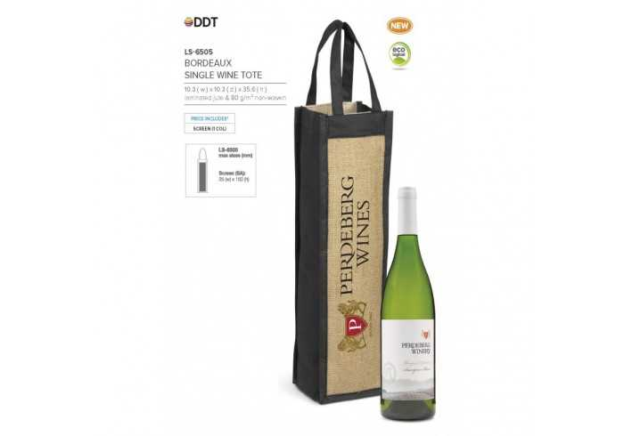 Bordeaux Single Wine Tote - Black