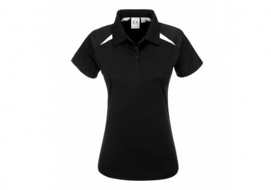 Splice Ladies Golf Shirt - Black With White