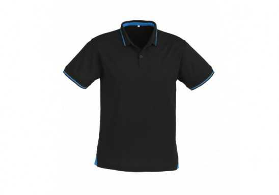 Jet Mens Golf Shirt - Black With Cyan