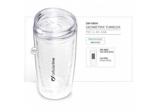Geometrix Double Wall Tumbler- 420Ml