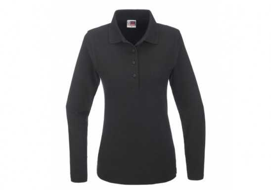 US Basic Boston Ladies Long Sleeve Golf Shirt - Black