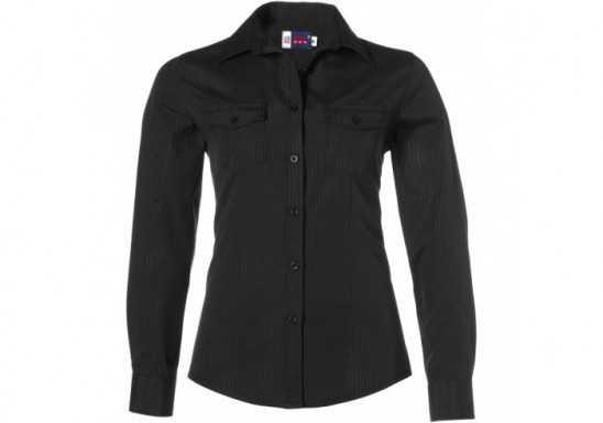 US Basic Bayport Ladies Long Sleeve Shirt - Black