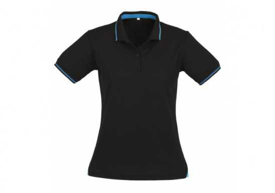Jet Ladies Golf Shirt - Black With Cyan