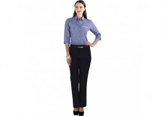 Micro Check Ladies 3/4 Sleeve Shirt