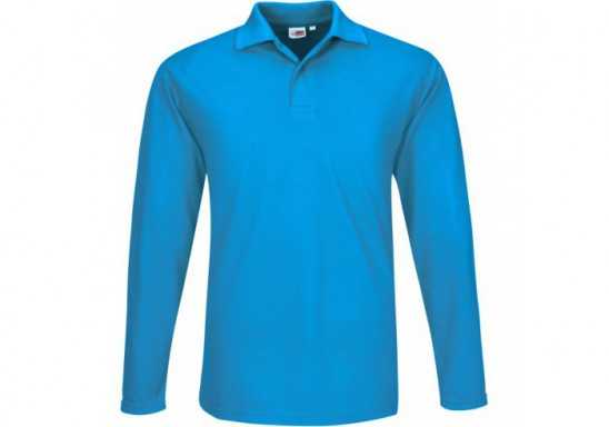 US Basic Mens Long Sleeve Elemental Golf Shirt - Aqua