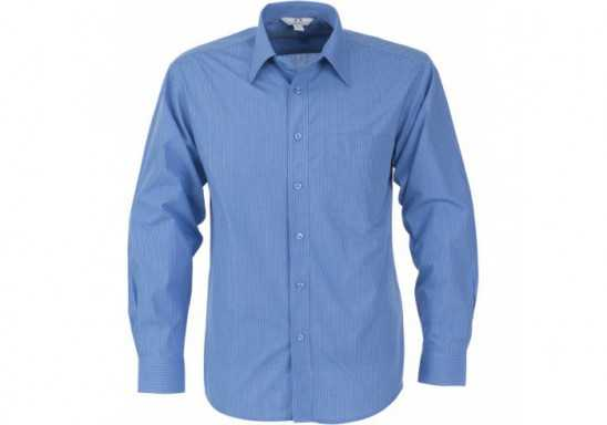 Micro Check Mens Long Sleeve Shirt - Blue
