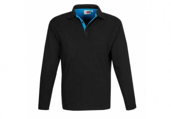 US Basic Mens Long Sleeve Solo Golf Shirt - Aqua