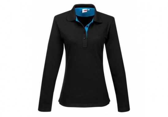US Basic Ladies Long Sleeve Solo Golf Shirt - Aqua