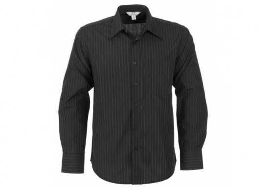 Manhattan Mens Striped Long Sleeve Shirt - Black