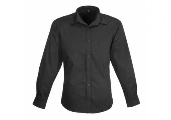 US Basic Mens Long Sleeve Milano Shirt - Black
