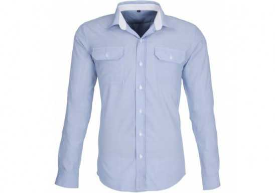 US Basic Mens Long Sleeve Windsor Shirt - Grey