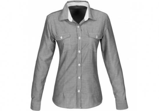 US Basic Ladies Long Sleeve Windsor Shirt - Grey