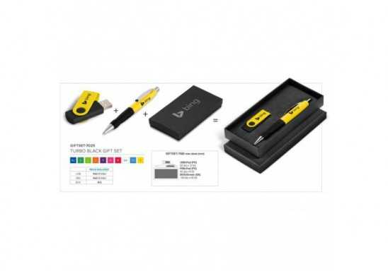 Turbo Black Pen And Usb Giftset