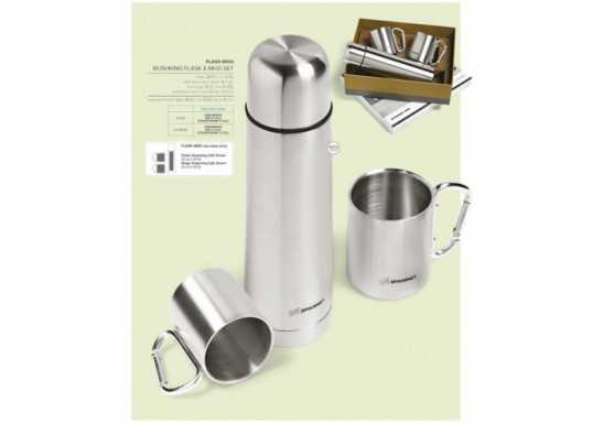 Bushking Double Wall Flask & Mug Set