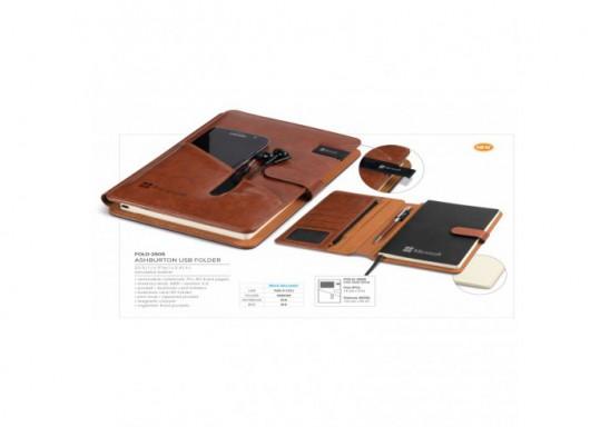 Ashburton USB Folder - Brown - 8GB