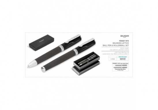 Balmain Lattice Ball Pen & Rollerball Set