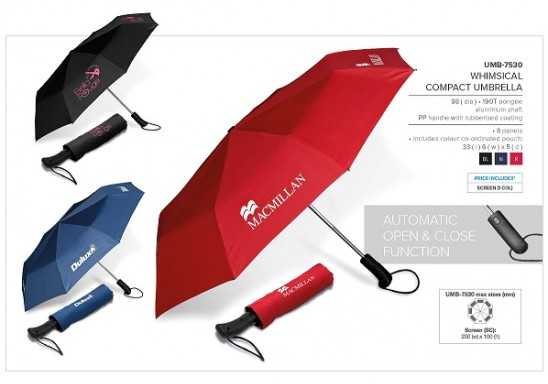 Whimsical Compact Umbrella - Navy