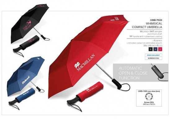 Whimsical Compact Umbrella - Navy