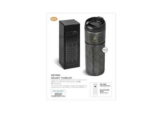 Binary Double Wall Tumbler - 450Ml - Gun Metal