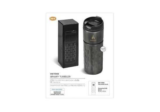 Binary Double Wall Tumbler - 450Ml - Gun Metal