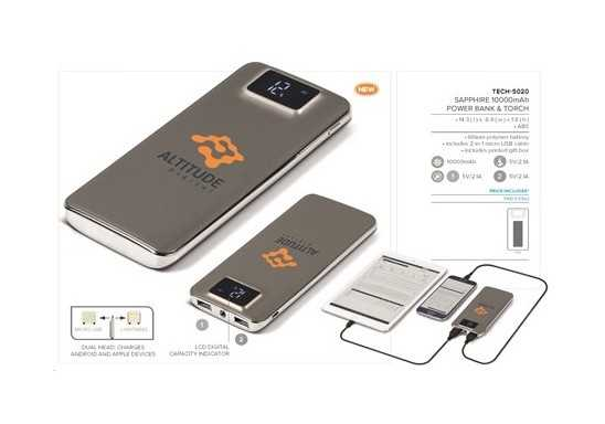 Sapphire 10000mAh Power Bank And Torch