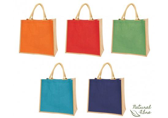 Colour-Jute Natural Fibre Shopper Bag