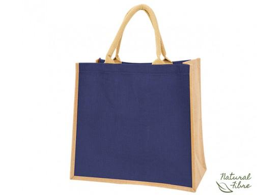 Colour-Jute Natural Fibre Shopper Bag - Blue