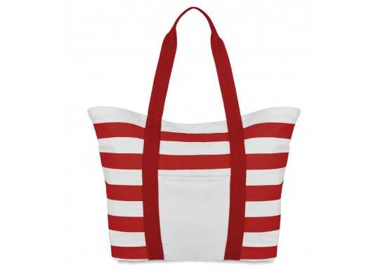 Striped Beach Bag - Red