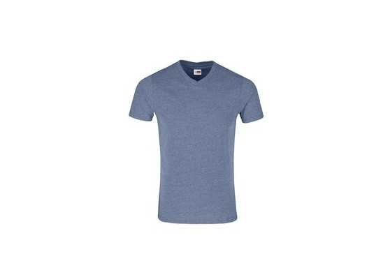 US Basic Mens Michigan Melange V-Neck T shirt-Blue