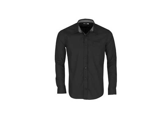 US Basic Mens Long Sleeve Warrington Shirt - Black
