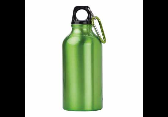400 ML Aluminium Water Bottle With Carabiner Clip - Light Green