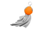 Keychain with Recycled Fibre Cloth - Orange