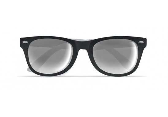 Stylish Sunglasses with Mirrored Lenses - Black and White