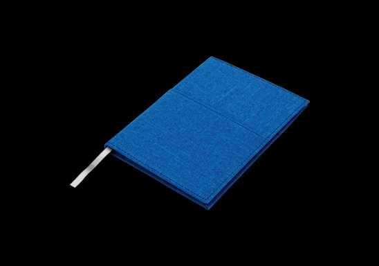 A5 Melange Notebook With Front Pocket - Blue
