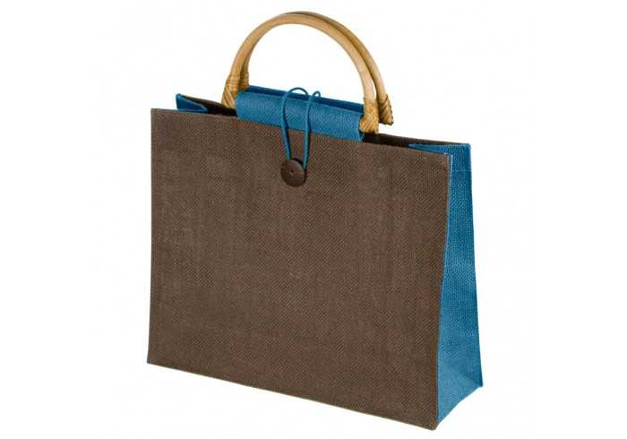 Jute Bag With Bamboo Grip - Cyan