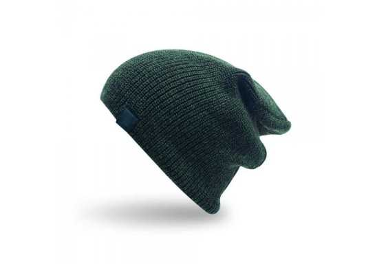 Two-Tone Slouch Skull With Badge - Green