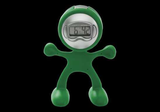 Man Shaped Alarm Clock With Memo Holder - Green
