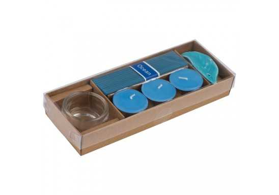 Perfumed Tea Light And Incense Sticks - Blue