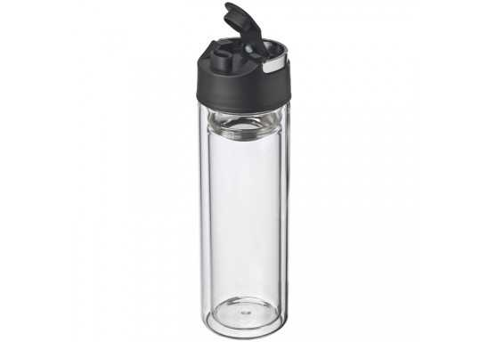 600ml GLASS double walled drinking bottle with a sieve and a carry loop.